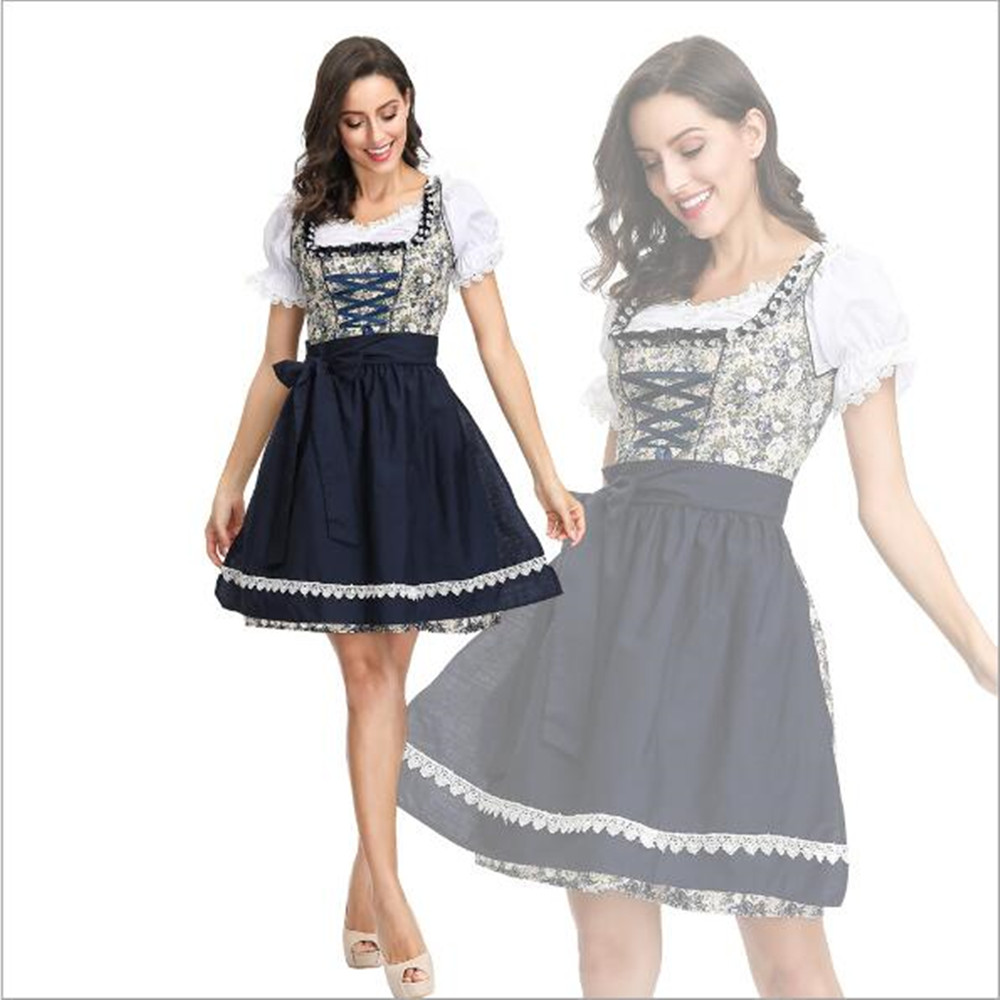 Adult Women Oktoberfest Costume Sexy Beer Girl Uniform Bavaria German Wench Maid Dirndl Party Fancy Dress