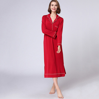 Autumn red modal nightgown female plus size long sexy night dress home dressing gown for women