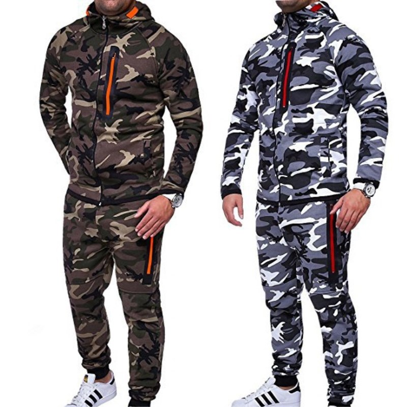 2018 New Men Slim Sport Hoodies and Pants Camouflage Hoodies Suit Zipper Sweatshirt and Pants Long Sleeves Training Trousers new men s denim overalls men slim fit cotton casual jeans jumpsuits for men long sleeves zipper patch trousers clothing
