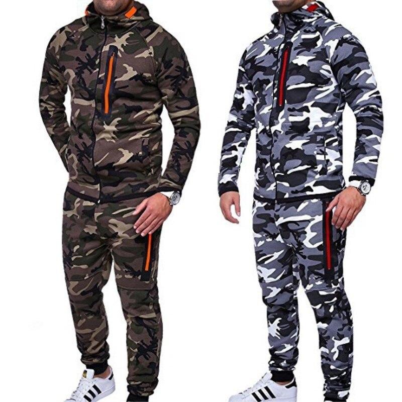 2018 New Men Slim Sport Hoodies and Pants Camouflage Hoodies Suit Zipper Sweatshirt and Pants Long Sleeves Training Trousers