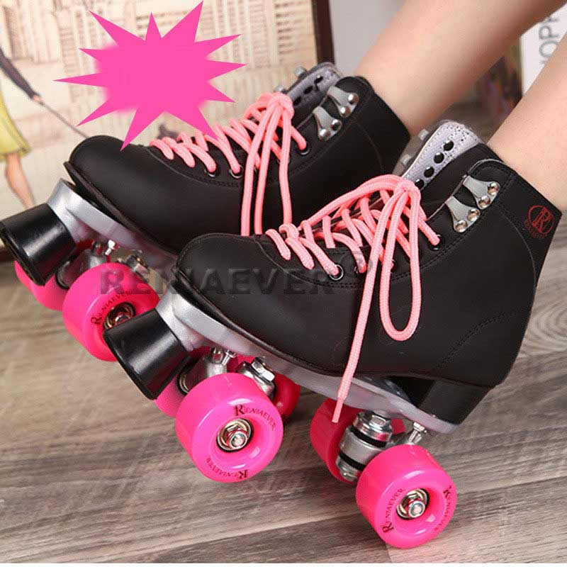 Black Roller Skates Double Line Skates Men Women Lady Model Adult Pink F1 Racing 4 Wheels Two line Roller Skating Shoes Patines reniaever double roller skates skating shoe gift girls black wheels roller shoe figure skates white free shipping