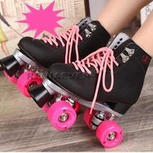 Black Roller Skates Double Line Skates Men Women Lady Model Adult Pink F1 Racing 4 Wheels Two line Roller Skating Shoes Patines