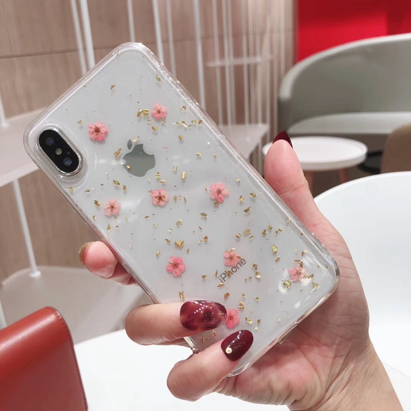 Human - Real Pressed Dried Flowers Phone Case For iPhone XS Max XR 6 6s 7 8 Plus X Silicon TPU Clear Floral Cover Cases Fundas
