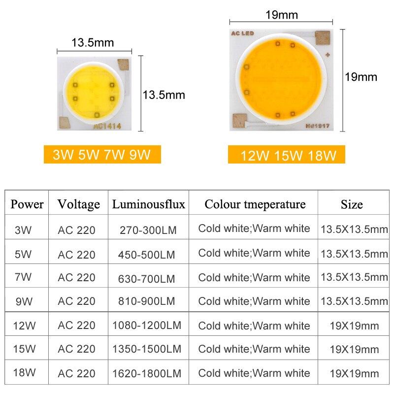 Smart IC LED COB Chip AC 220V 110V 3W 5W 7W 9W 12W 15W 18W 20W 30W 50W LED Lamp Cover Lens Reflects DIY For LED Floodlight