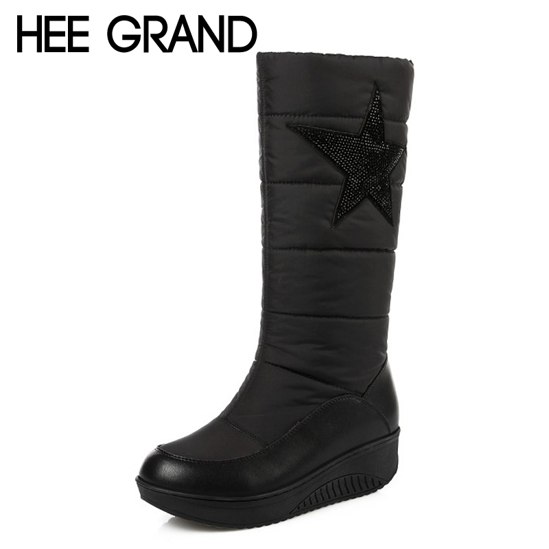 HEE GRAND Platform Casual shoes Woman Winter Warm Knee High Boots Slip On Coton Fabric Plush Women Boots Plus Size 35-44 XWM222 hee grand 2017 platform gladiator sandals beach beaded wedges sandals casual platform shoes woman slip on creepers xwz3466
