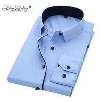 DAVYDAISY Men Shirt Turn Down Collar Long Sleeved Twill Solid Slim Brand Clothing Dress Shirt Man