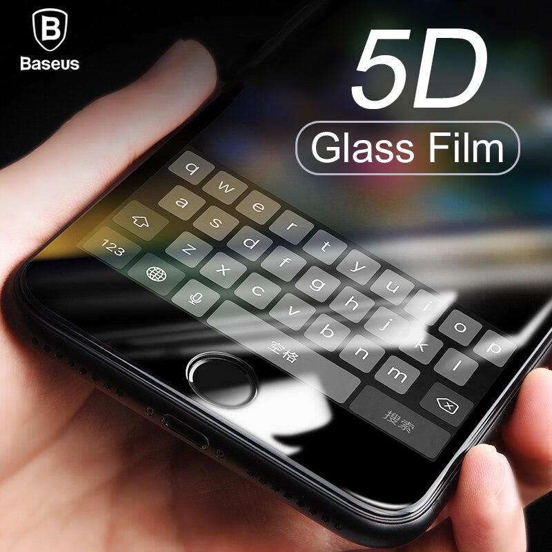 Baseus 5D Protector de pantalla de cristal templado X 8 para iPhone 7 Plus funda de protección completa Anti azul templado película de vidrio para iPhonX