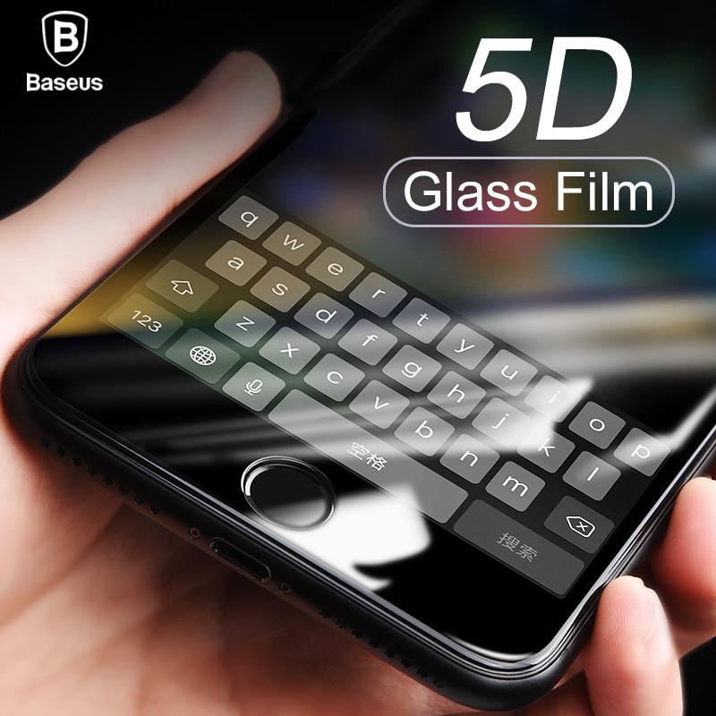 Protector de pantalla Baseus 5D vidrio templado X 8 para iPhone 7 Plus funda completa protectora Anti película de vidrio templado azul para iPhonX