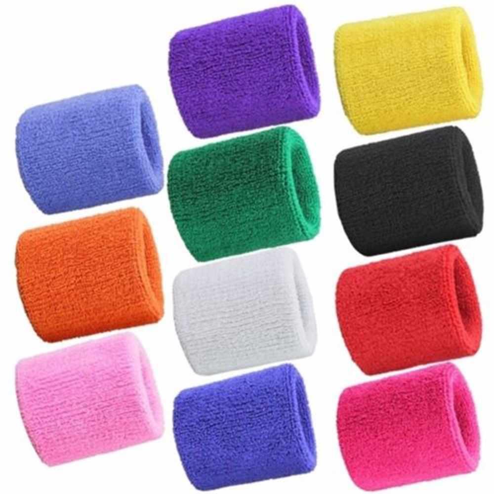2 pçs colorido algodão unisex esporte sweatband pulseira protetor de pulso correndo badminton basquete cinta terry pano suor banda