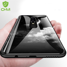 Original CHYI for oneplus 6 glass case patterned cover Explosion-proof one plus 6 silicone cover edge shock proof case