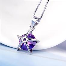 Everoyal Exquisite Crystal Star Pendant Necklace For Girls Accessories Trendy 925 Sterling Silver Women Jewelry Bijou