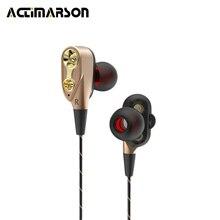 Actimarson fone de Ouvido Duplo Moving-Bobina do Fone de ouvido Com Cancelamento de Ruído HiFi Fones de Ouvido Estéreo de Jogo de Corrida de Música Fone de Ouvido com Microfone