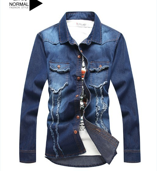 Japan and South Korea retro men's jeans men's autumn and winter influx of men's Slim thin coat denim dress gown Free Shipping