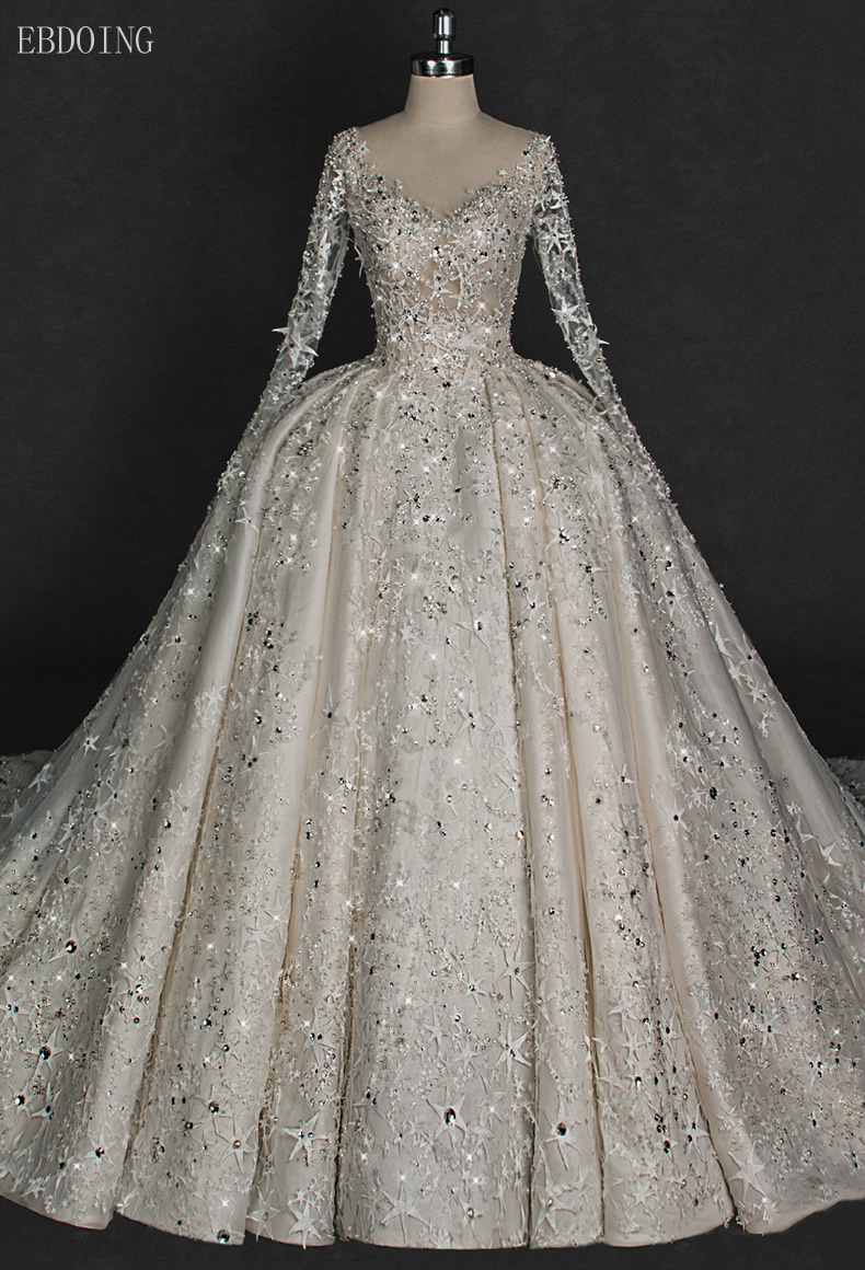 Amazing Backless Princess Ball Gown Wedding Dress V neck Full Sleeve Chapel Train With Lace Star
