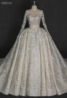 Amazing Backless Princess Ball Gown Wedding Dress V neck Full Sleeve Chapel Train With Lace Star Shape Beaded Vestidos De Novia