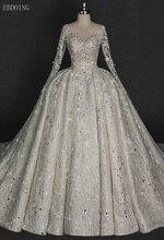 Tuyệt vời Backless Công Chúa Bóng Gown Wedding Dress Cổ Chữ V Đầy Đủ Tay Áo Chapel Train Với Ren Hình Dạng Ngôi Sao Đính Cườm Vestidos De Novia