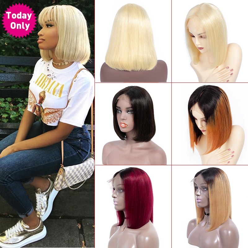TODAY ONLY 613 Brazilian Straight Lace Front Wig Short Bob Lace Front Human Hair Wigs For