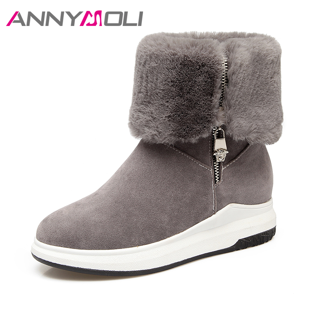 ANNYMOLI Snow Boots Women Fur Winter Boots Platform Wedges Mid-Calf Boots Med Heel Zipper Warm Shoes 2017 Gray Green Big Size 44 double buckle cross straps mid calf boots
