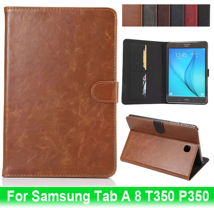 For Samsung Galaxy Tab A 8.0 inch T350 T355 SM-t350 P350 Case Crazy Horse With Magnetic Clasp Card Slot PC Back Cover Stand