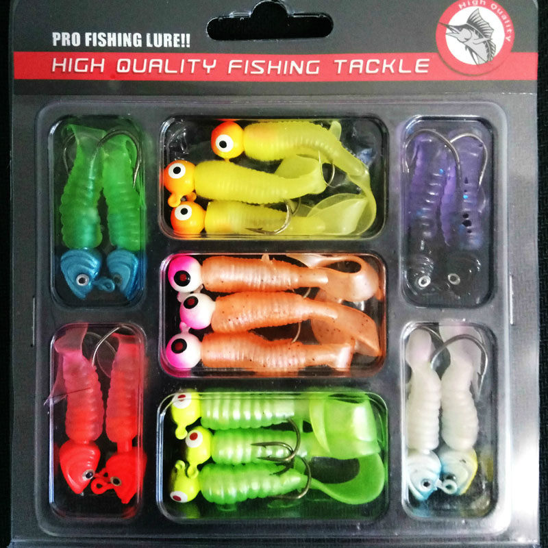 Lure lead head hook soft bait set av1706 lure set fishing tackle artificial jig head hook set shads silicone bait wobbler pesca  fishing lure soft jig head hook 11cm 22g plomb jig head silicone bait isca artificial baits 3d augen soft plastic lures tackles