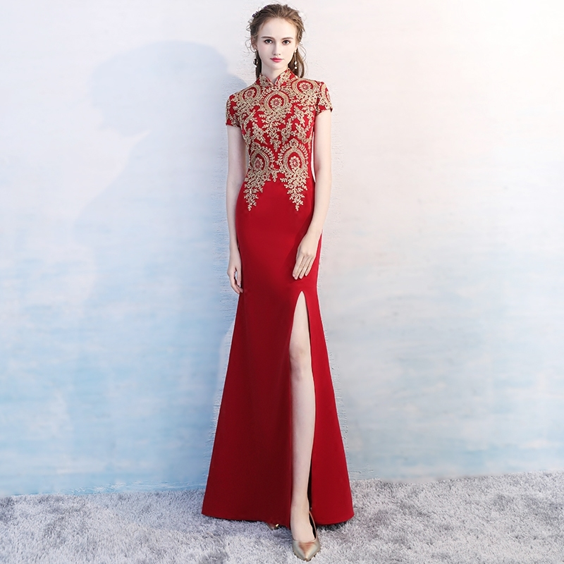 Modern Traditional Chinese Red Mermaid Sexy Wedding Dress Women Cotton Cheongsam Qipao Embroidery Vestidos Formales Lady 4xl