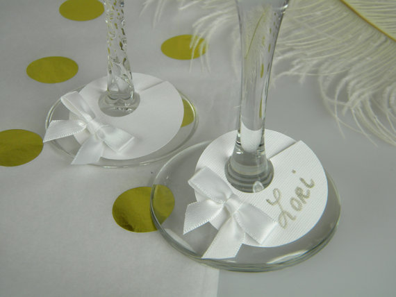 bow style wine glass ring charms tags wedding engagement bridal shower Bachelorette Party table