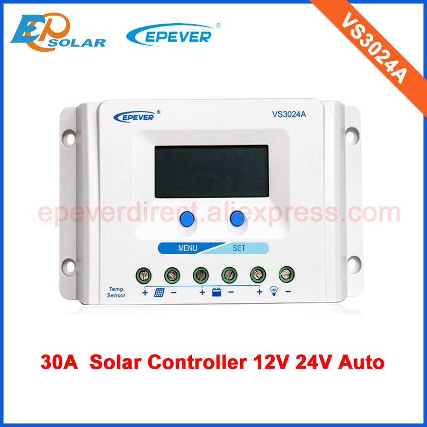 lcd display pwm 30A 30amp VS3024A solar charge battery controller 12v/24v auto worklcd display pwm 30A 30amp VS3024A solar charge battery controller 12v/24v auto work