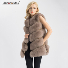 Real Fur Gilet Women Fox Vest Thick  Waistcoat Female Jacket S1571