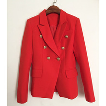 High Quality Jackets Woman Coat Metal Lions Head Gold Button Double Breasted Slim Fit Women Red Blazer S-3XL 1742