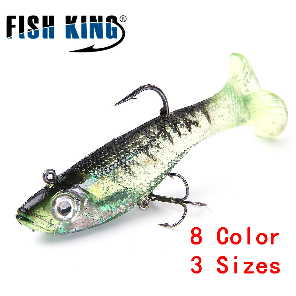 FISH KING 1PC Fishing Lure 8/10/12CM 8 Color Bass Silicone 3D Eyes Life-like Soft Bait With Treble Hook Lead Jig Head Crankbait рыболовный поплавок night fishing king 1012100014 mr 002
