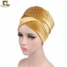 New Fashion Women STAR Diamante Velvet Turban Extra Long Head Wraps Women Luxury Hijab HeadScarf Head scarf Turbante
