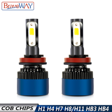 BraveWay S2 H7 LED Lamp for Car H4 H11 HB3 HB4 9005 9006 H1 LED Headlamp 6500K 12V Car Headlight Bulbs LED HB3 HB4 H4 Fog light braveway led bulb for auto led ice bulb h4 h7 h11 led headlight 9005 9006 hb3 hb4 headlamp 12000lm 6500k 80w 12v car light led
