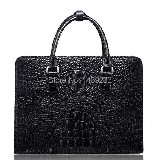 Crocodile véritable mallette en cuir pour homme sac d'affaires en cuir de crocodile 100% matériel original