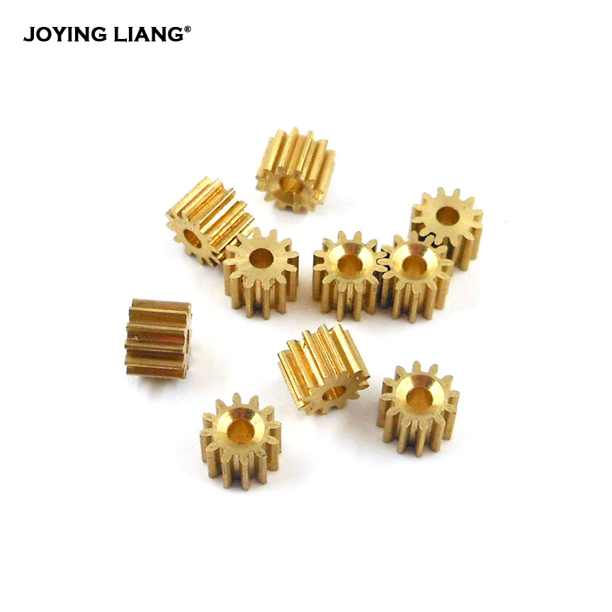 122A 0.5M Copper Gear 12 Tooth Hole 2MM ( 1.97MM ) Motor Gearbox Gears Toy Model Pinion 10pcs/lot