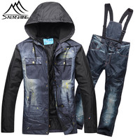 SAENSHING Ski Suit Men Winter Mountain Skiing Suit Thicken Warm Waterproof Denim Ski Jacket Pants Outdoor