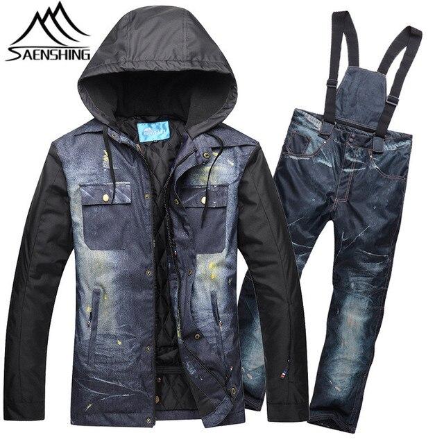SAENSHING Ski Suit Men Winter Mountain Skiing Suit Thicken Warm Waterproof  Denim Ski Jacket Pants Outdoor 95b2c0ae3