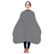 Elegant Strip Design Hair Cape Hairdresser Gown For Salon Haircut, Antistatic Black+White