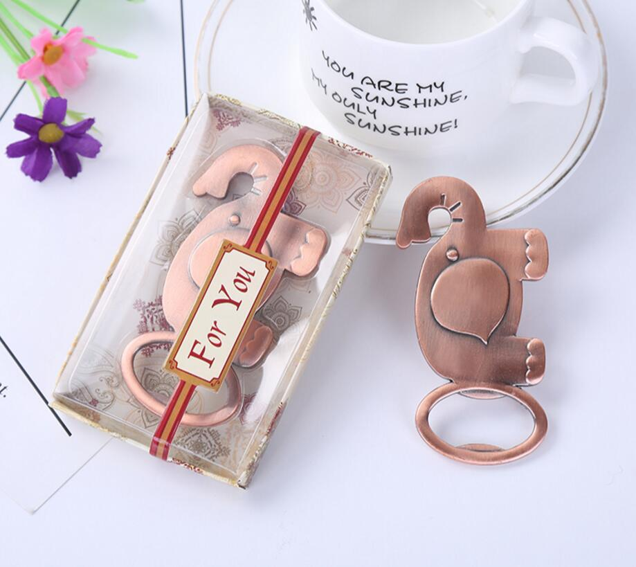lastest fashion alloy metal vintage cute elephant bottle opener summer on beach for Wedding Party favor decor Gift