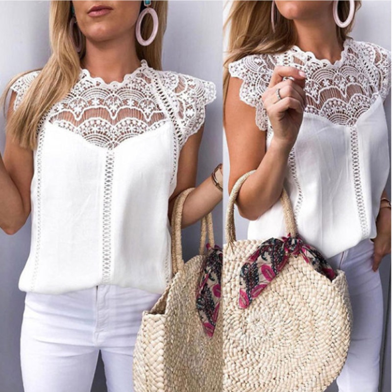 Women Tops and   Blouses     Shirts   Solid Lace   Blouse   Chiffon Sleeveless Hollow Tops   Shirt   Woman   Blouses   Blusas Mujer De Moda 2019