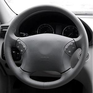 Image 3 - GKMHiR DIY siyah direksiyon kılıfı suni deri araba direksiyon kılıfı Mercedes Benz için W203 C 2001 2007