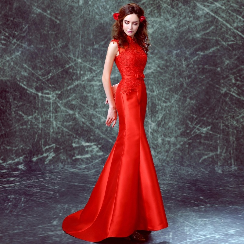 merah satin lace applique mermaid Trailing tanpa lengan cina gaya - Pakaian kebangsaan - Foto 2