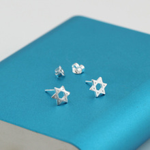 Wholesale High Quality Jewelry Silver Plated Cute Hexagram Stud Earrings For font b Women b font