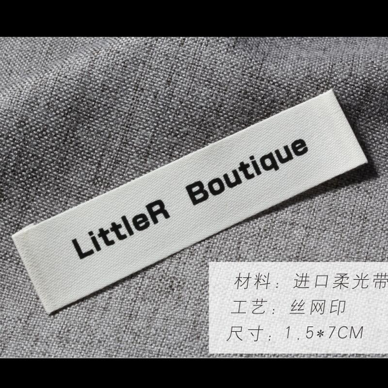 Custom High-Grade Printed Imported Satin Cotton Material Neck Label Printing Clothing Main Label