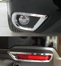 цена на Car-styling ABS chrome front rear fog lamp cover FOR FORESTER 2013-15 FREE SHIPPING fog light trim plastic plating cover sticks