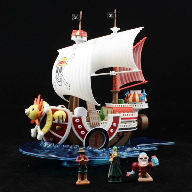 ONE PIECE Doll Figure THOUSAND SUNNY Going Merry Pirate Ship Model 12 style one piece diamond building blocks going merry thousand sunny nine snakes submarine model toys diy mini bricks gifts