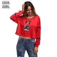 Loose Autumn Short T Shirt Women 2017 Clothing Casual Ladies Autumn Tees O Neck Varsity Printed
