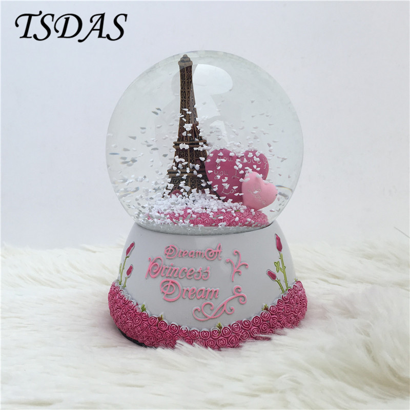 Pink Rose & Heart Crystal Ball Music Box Girlfriend's Birthday Present Snowflakes Eiffel Tower Musical Box Valentine's Day Gift