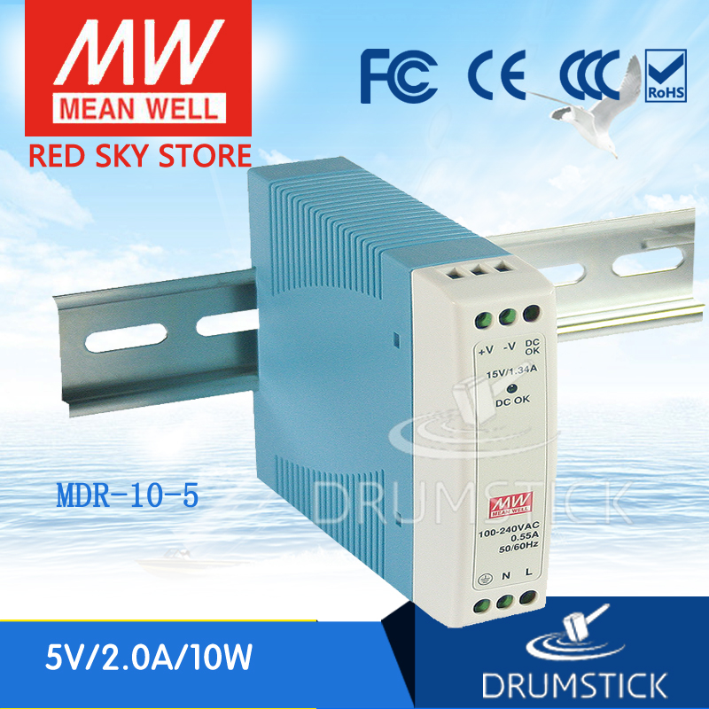 ФОТО Redsky [free-delivery 5Pcs] MEAN WELL original MDR-10-5 5V 2A meanwell MDR-10 10W Single Output Industrial DIN Rail Power Supply
