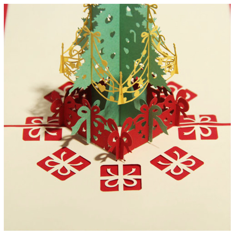 Perfect-Merry Christmas Tree Vintage 3D laser cut pop up paper handmade custom greeting cards Christmas gifts souvenirs postca