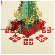 jinhao Perfect-Merry Christmas Tree Vintage 3D laser cut pop up paper handmade custom